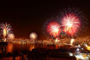 Bahía de Valparaiso Chile Año Nuevo