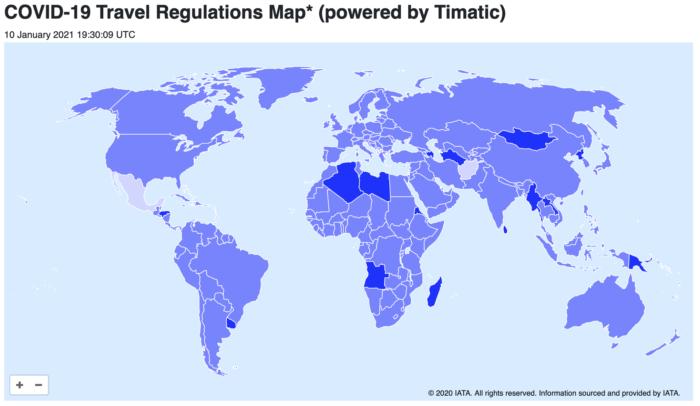 Mapa de restricciones de viajes por covid-19
